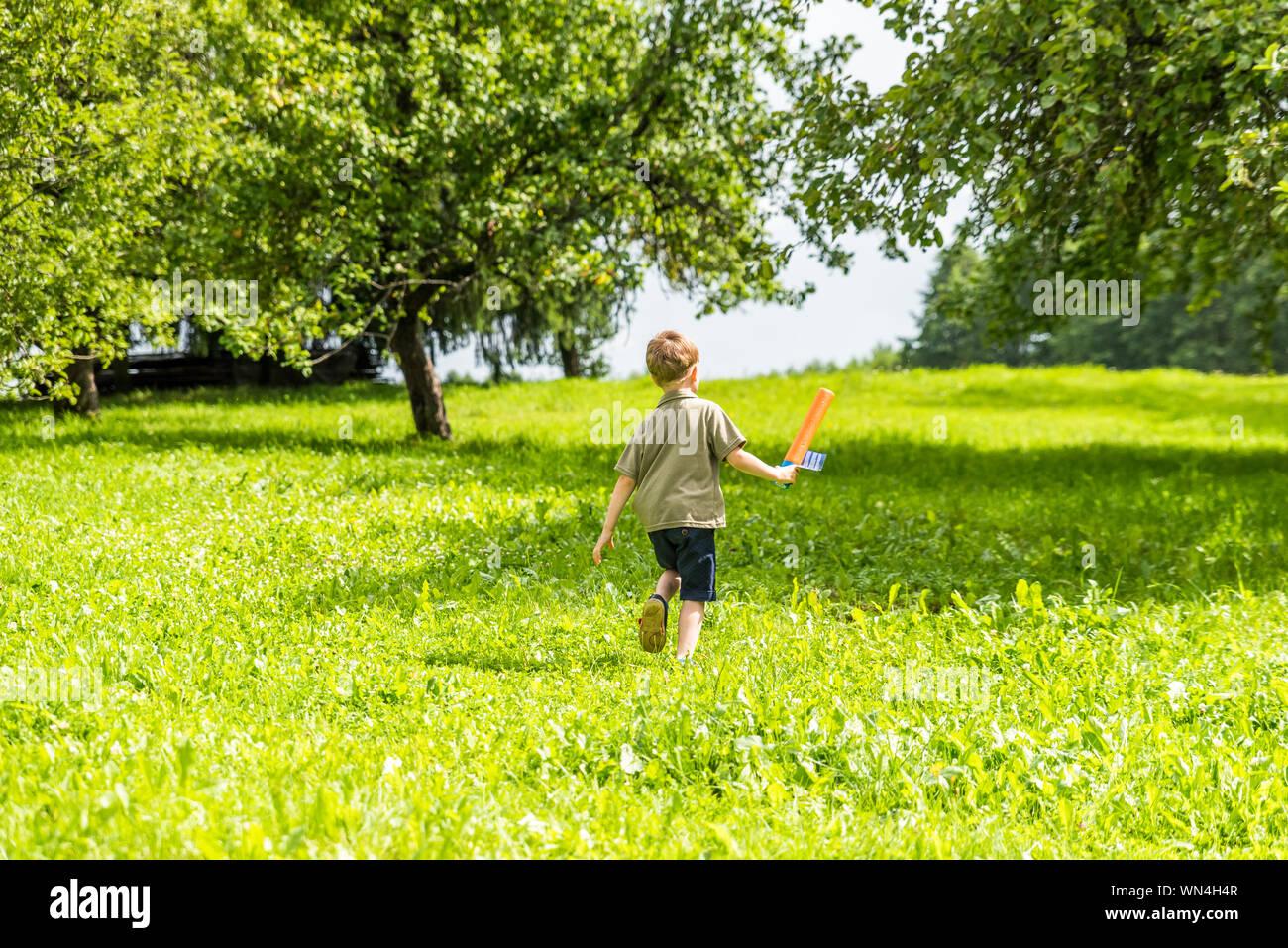 Rear View Of Boy Walking On Grass Stock Photo
