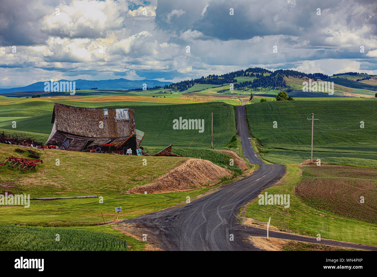 The Skeen school house in the Palouse, Washington Stock Photo