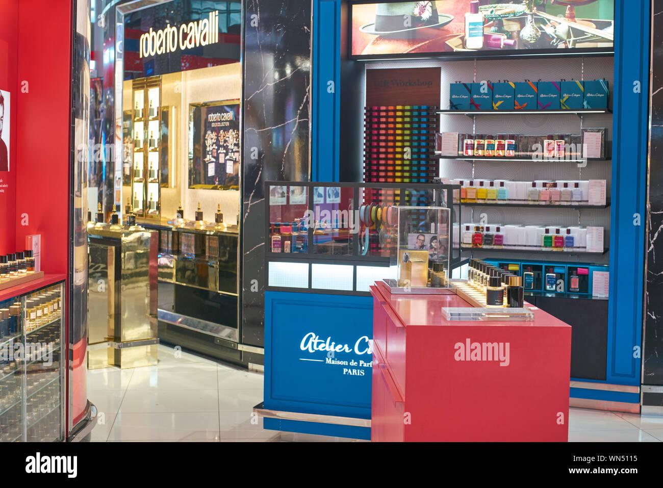 DUBAI, UAE - CIRCA JANUARY, 2019: Duty Free area at Dubai International Airport. Stock Photo
