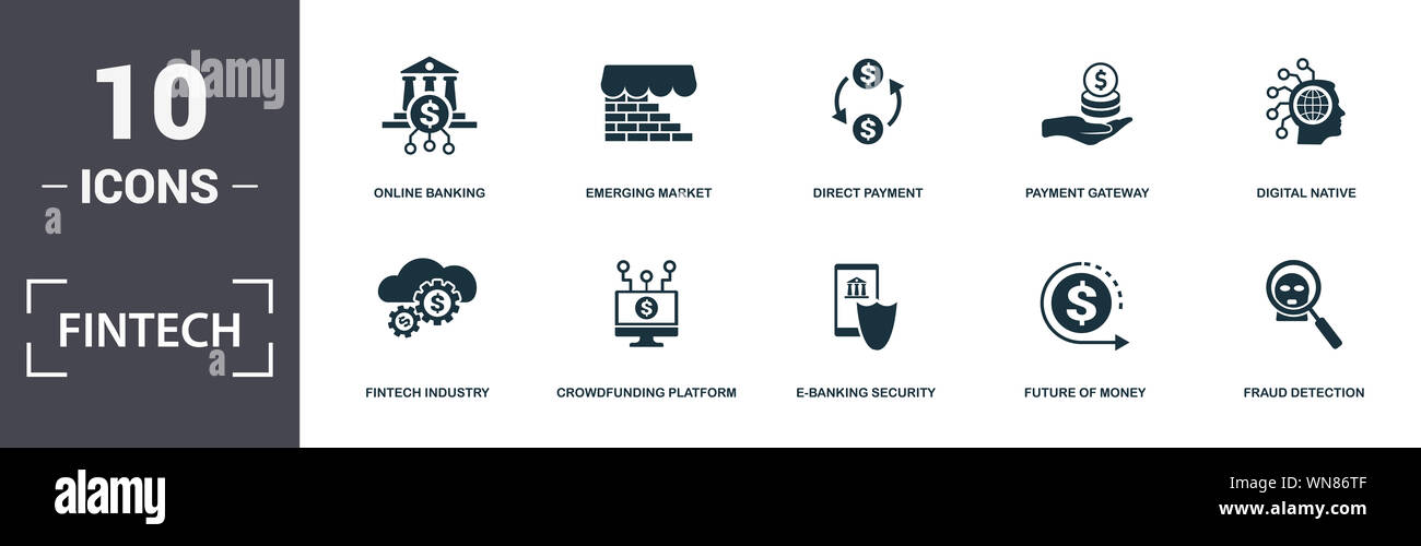 Fintech set icons collection. Includes simple elements such as Online Banking, Emerging Market, Direct Payment, Digital Native, Crowdfunding Platform Stock Photo