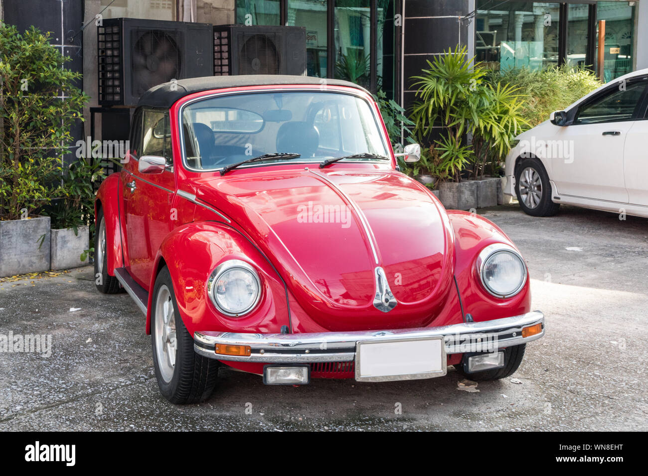 Phuket, Thailand - July 23rd 2019: Classic Volkswagen convertible Beetle in Old Phuket Town. The car is a worldwide icon. Stock Photo