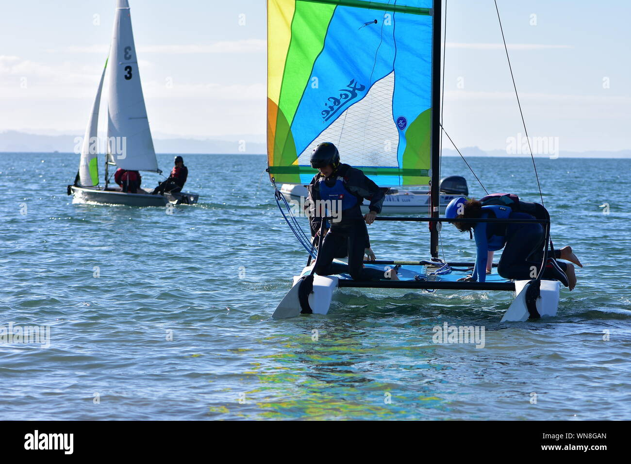 Crew of youngsters getting their racing sailing catamaran ready on water for training. Stock Photo