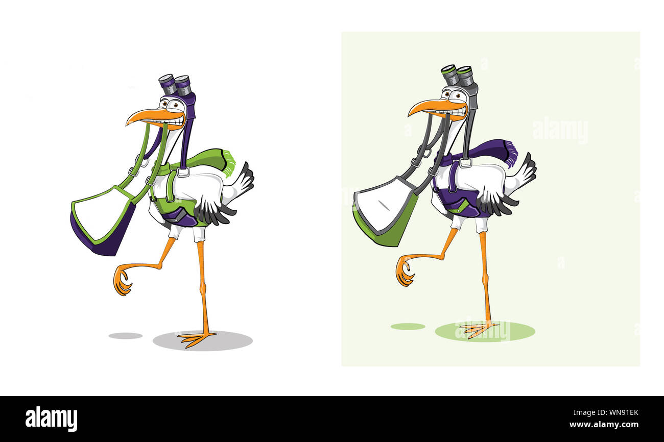 bag and pelican or stork mascot with colored school bag Stock Photo
