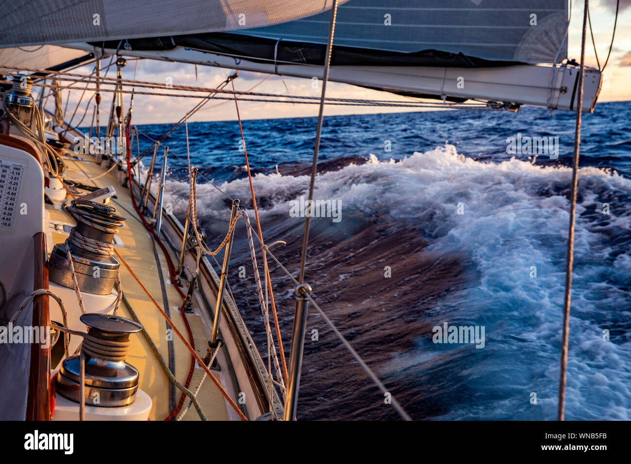 Sailing to Hawaii during the Transpac Yacht Race from Los Angeles to Hawaii. Stock Photo