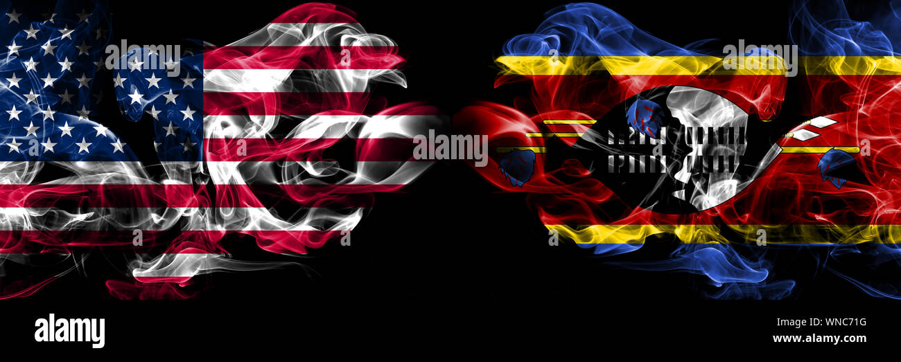 United States of America, USA vs Swaziland, Swazi background abstract concept peace smokes flags. Stock Photo