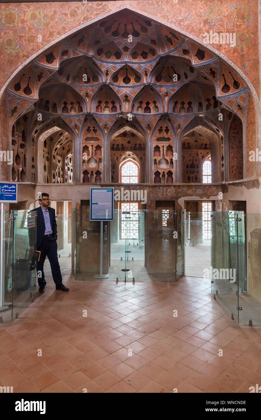 Music Hall, Ali Qapu palace, Isfahan, Isfahan Province, Iran Stock Photo