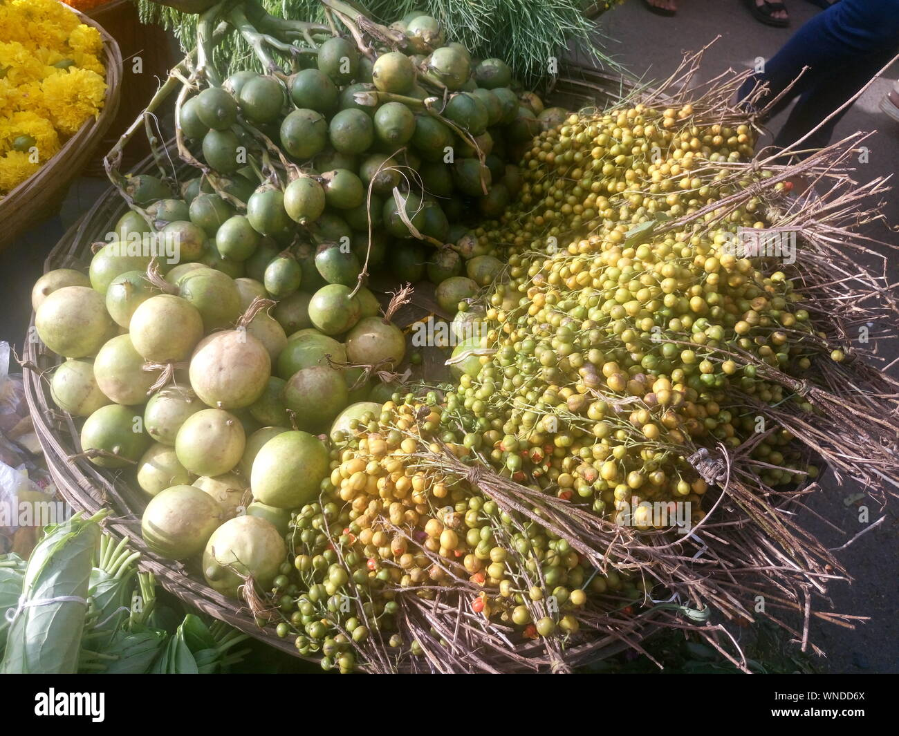 High Angle View Of Various Fruits And Vegetables For Sale At Market Stock Photo