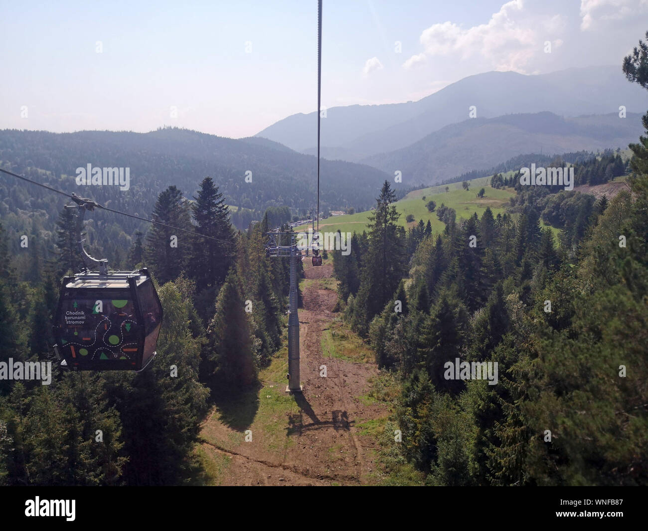 Ski lifts in the summer time in the Tatra Mountains, Slovakia. September 2019. Stock Photo
