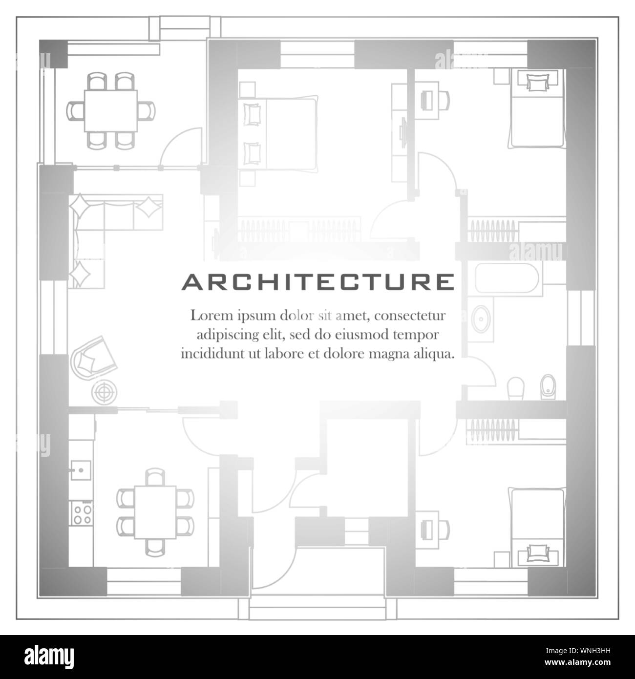 Architectural background. Part of architectural project, architectural plan of a residential building. Black and white vector illustration EPS10 Stock Vector