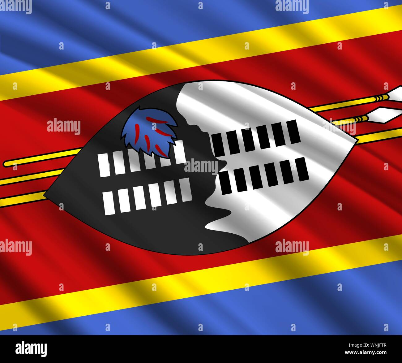 Background with 3d waving flag of Swaziland Stock Vector