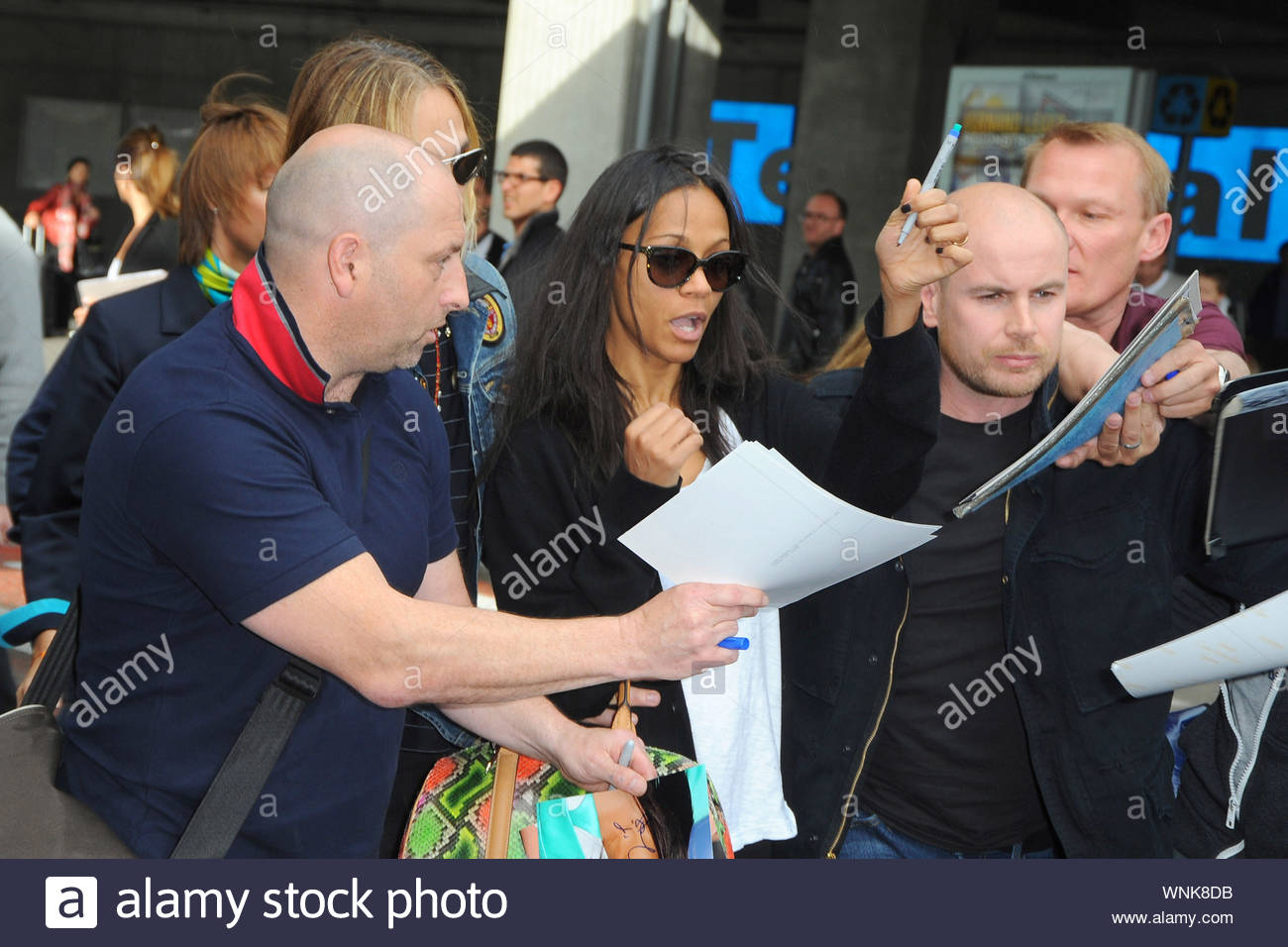 Nice France Actress Zoe Saldana And Her Artist Husband