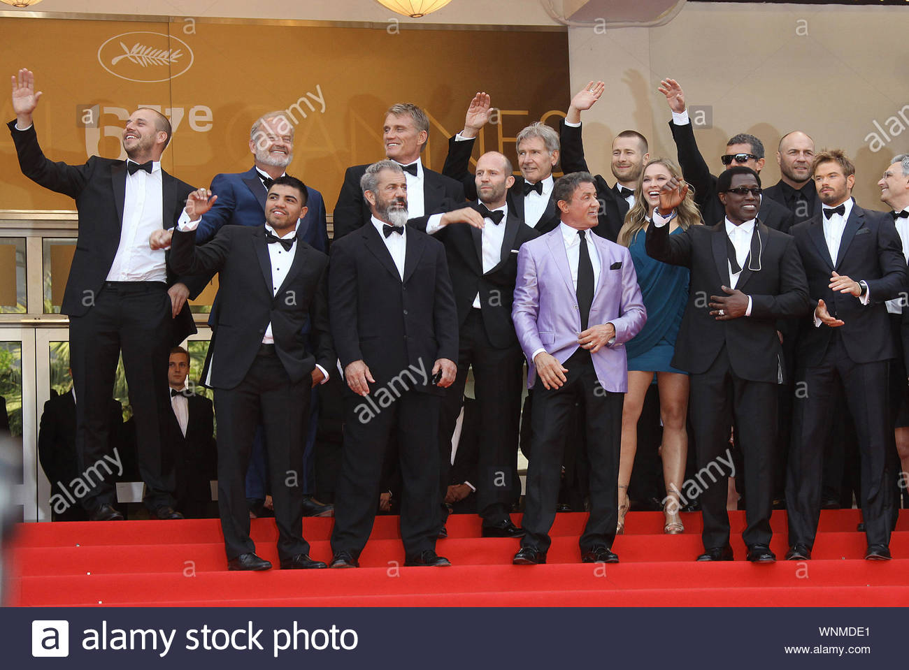 "Cannes, France - The cast of ""Expendables 3"" at ""The Homesman"" premiere, during the 67th Annual Cannes Film Festival. AKM-GSI May 18, 2014 Stock Photo"