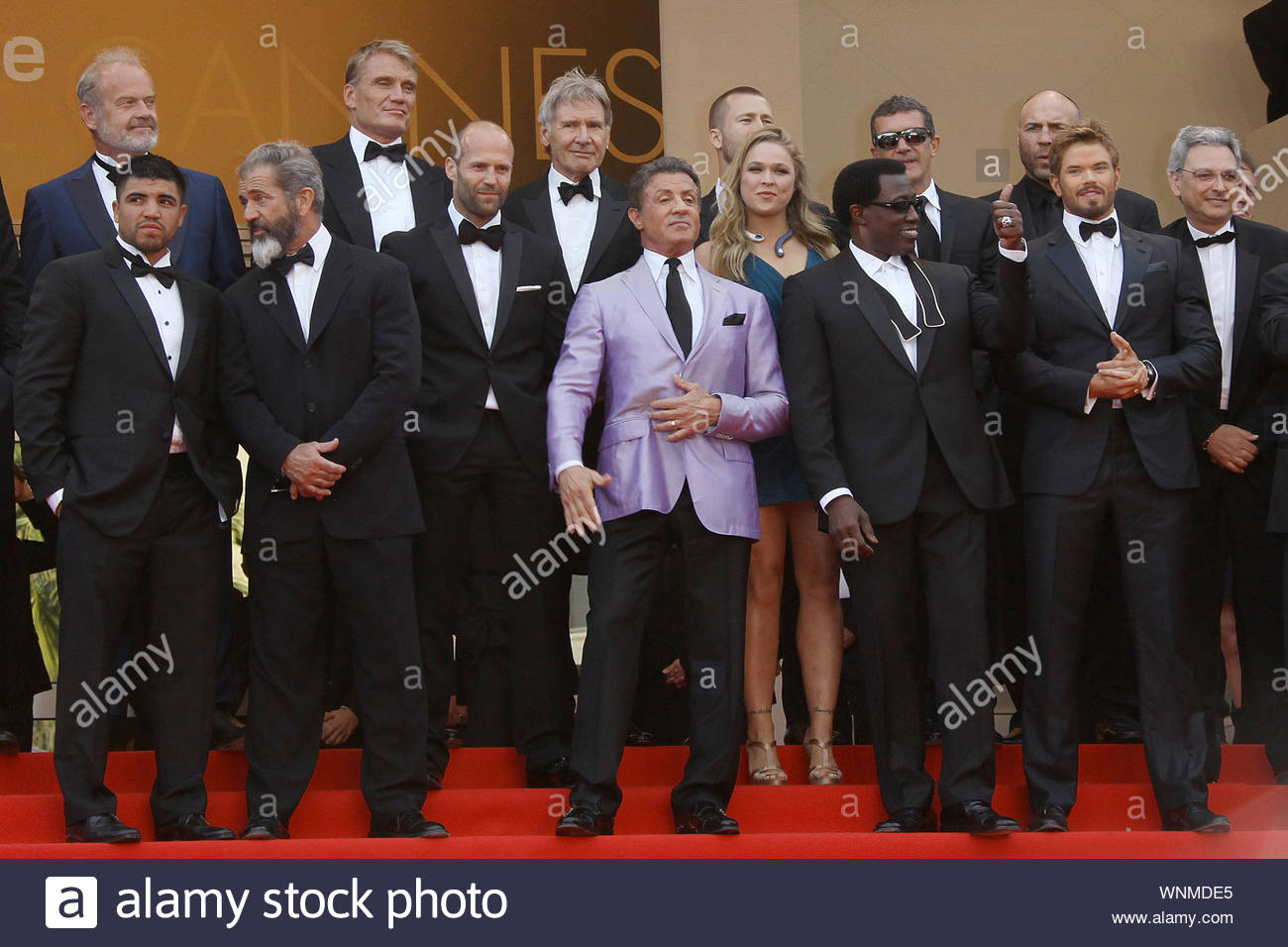 """Cannes, France - The cast of """"Expendables 3"""" at """"The Homesman"""" premiere, during the 67th Annual Cannes Film Festival. AKM-GSI May 18, 2014 Stock Photo"""
