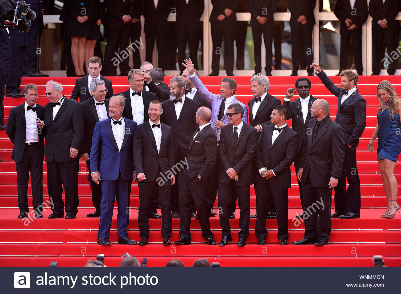 """Cannes, France - The cast of """"Expendables 3"""" at the """"The Homesman"""" premiere during the 67th Annual Cannes Film Festival. AKM-GSI May 18, 2014 Stock Photo"""