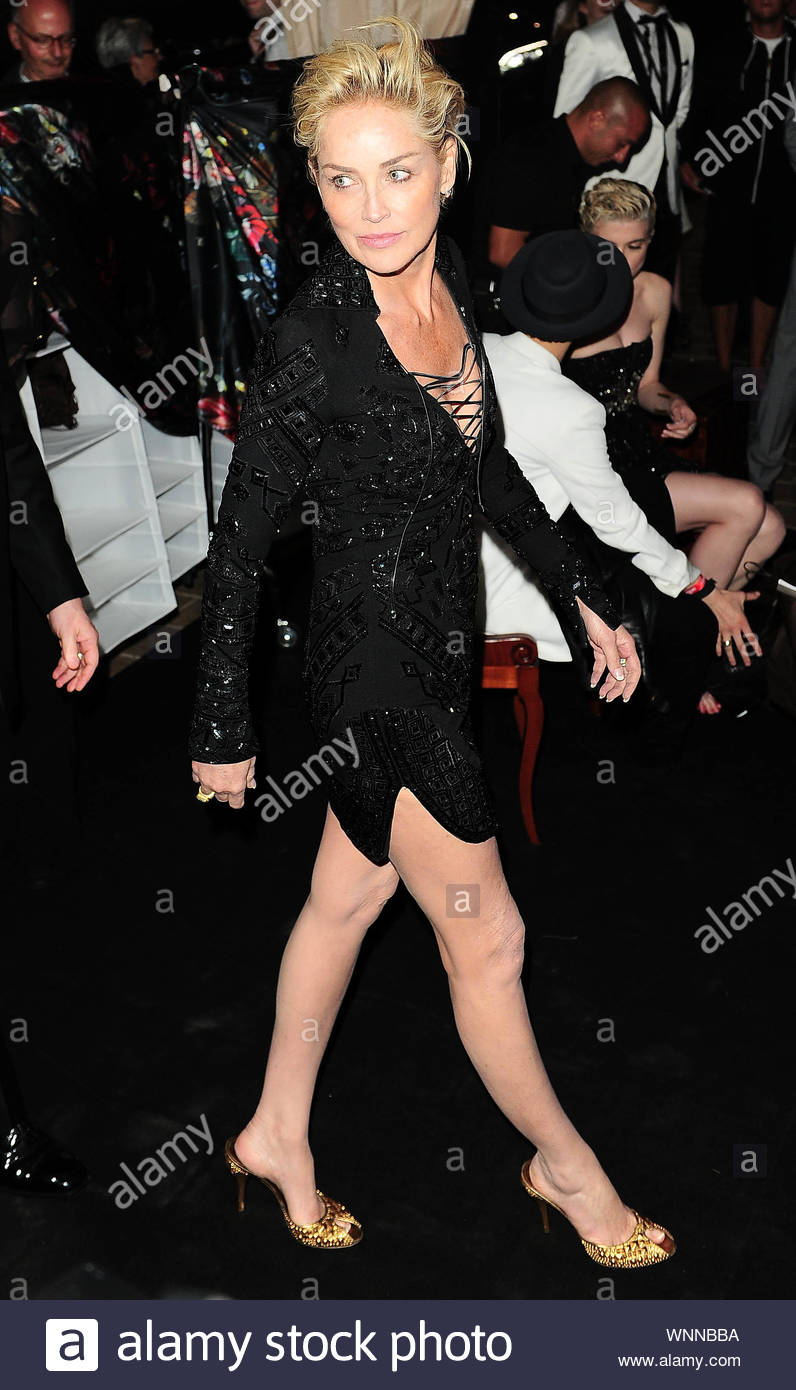 Cannes, France - Sharon Stone at Roberto Cavalli's annual yacht party at Cannes Harbor during the 67th Annual Cannes Film Festival in Cannes, France. AKM-GSI May 21, 2014 Stock Photo