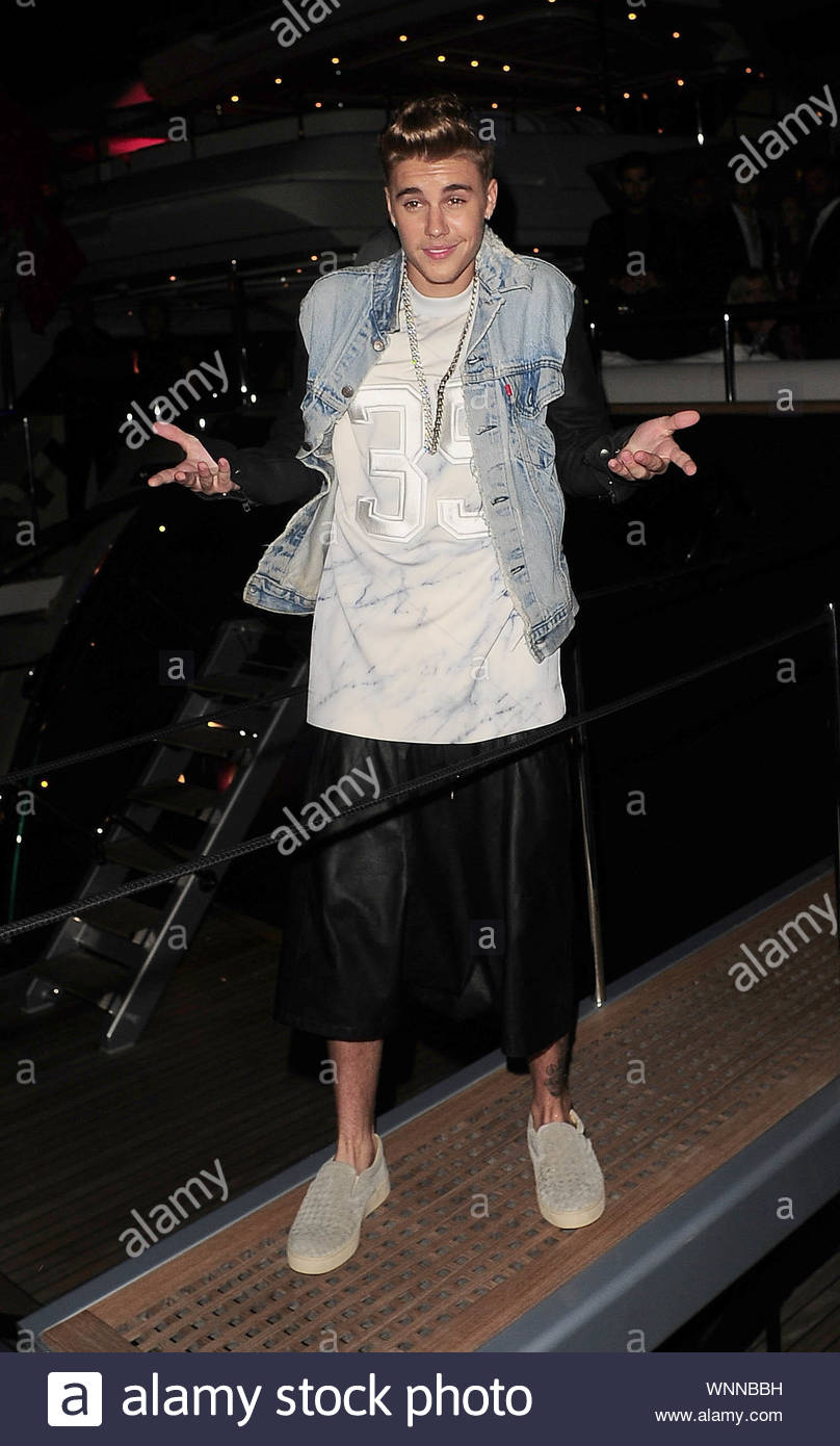 Cannes, France - Justin Bieber at Roberto Cavalli's annual yacht party at Cannes Harbor during the 67th Annual Cannes Film Festival in Cannes, France. AKM-GSI May 21, 2014 Stock Photo