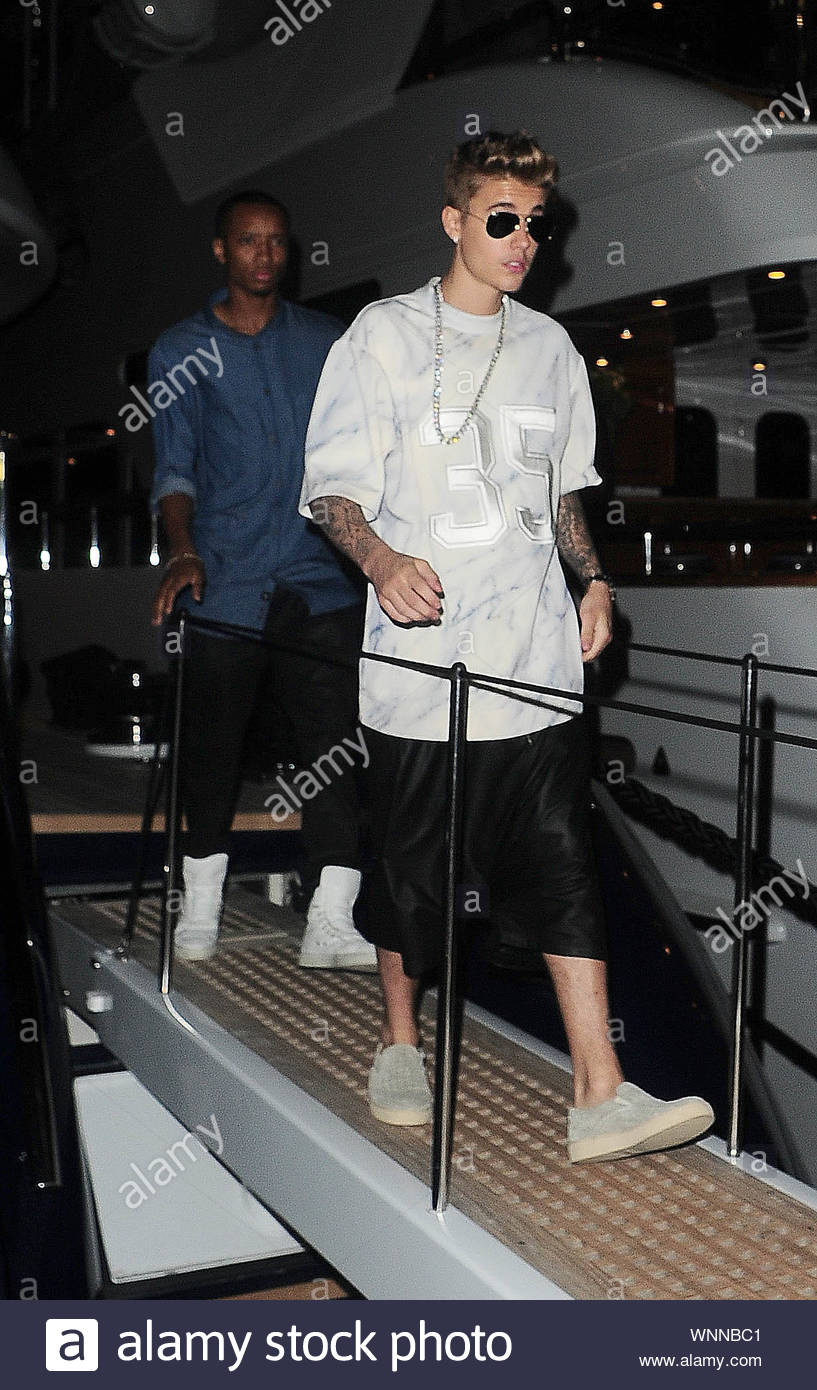 Cannes, France - Justin Bieber at Roberto Cavalli's annual yacht party at Cannes Harbour during the 67th Annual Cannes Film Festival in Cannes, France. AKM-GSI May 21, 2014 Stock Photo