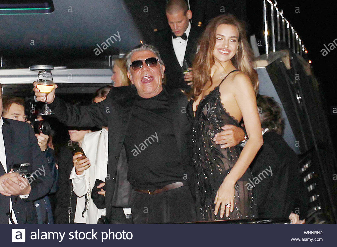 Cannes, France - Claudia Galanti and Roberto Cavalli at Roberto Cavalli's annual yacht party at Cannes Harbor during the 67th Annual Cannes Film Festival in Cannes, France. AKM-GSI May 21, 2014 Stock Photo