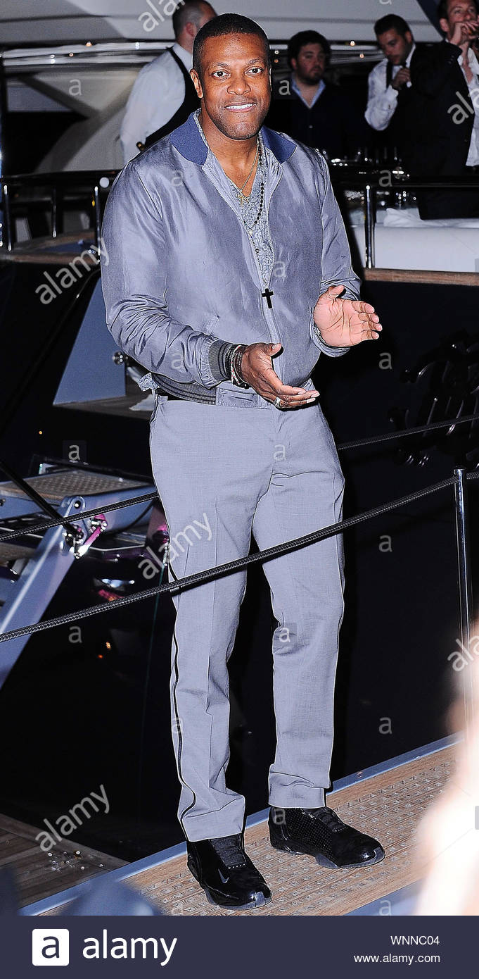 Cannes, France - Chris Tucker at Roberto Cavalli's annual yacht party at Cannes Harbor during the 67th Annual Cannes Film Festival in Cannes, France. AKM-GSI May 21, 2014 Stock Photo
