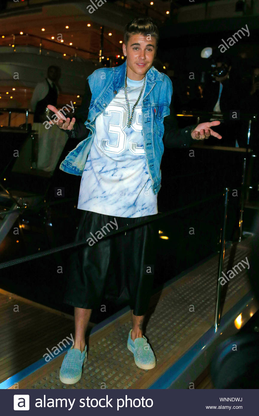 Cannes, France - Justin Bieber at the 'Roberto Cavalli Annual Party Aboard' as part of the 67th Cannes Film Festival in Cannes, France AKM-GSI May 21, 2014 Stock Photo