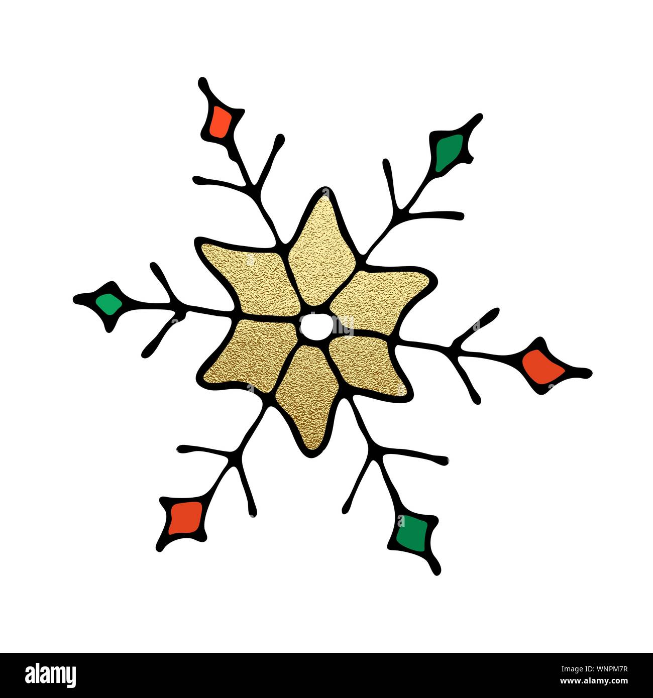 Christmas Holidays Icon.Christmas Color Icon Snowflake Cute Hand Drawn Clip Art
