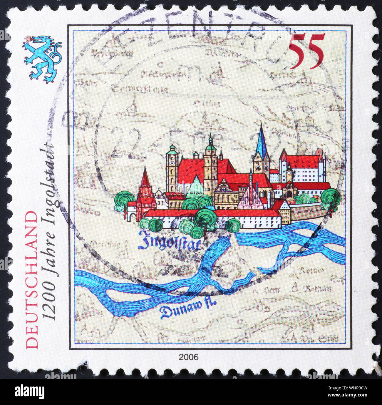 City of Ingolstadt on german postage stamp Stock Photo