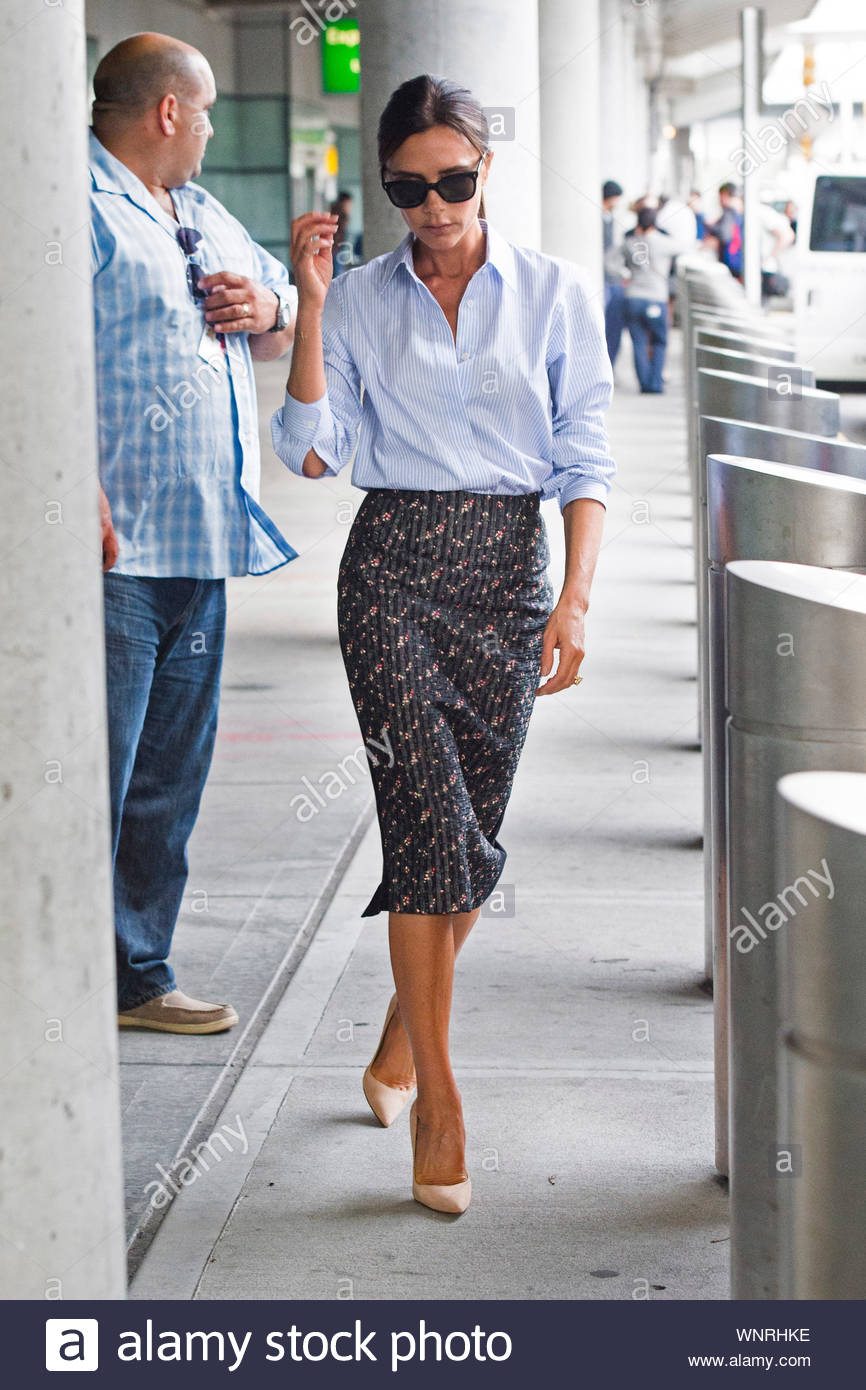 New York Ny Victoria Beckham Arrives At Jfk In New York In Style The English Businesswoman