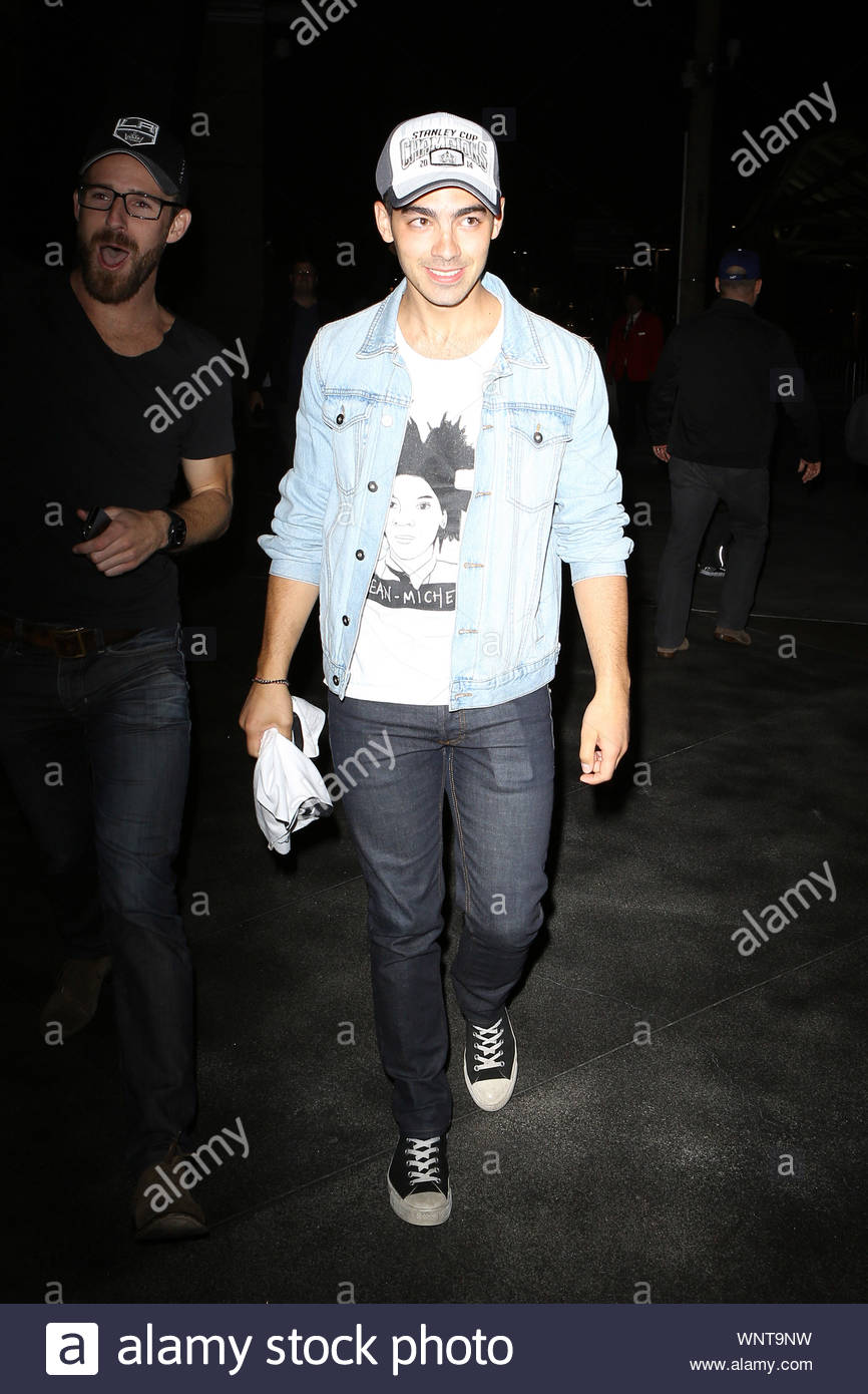 Los Angeles, CA - Joe Jonas attends the Kings Game for the NHL Stanley Cup Finals, held at the Staples Center in Los Angeles. AKM-GSI June 13, 2014 Stock Photo