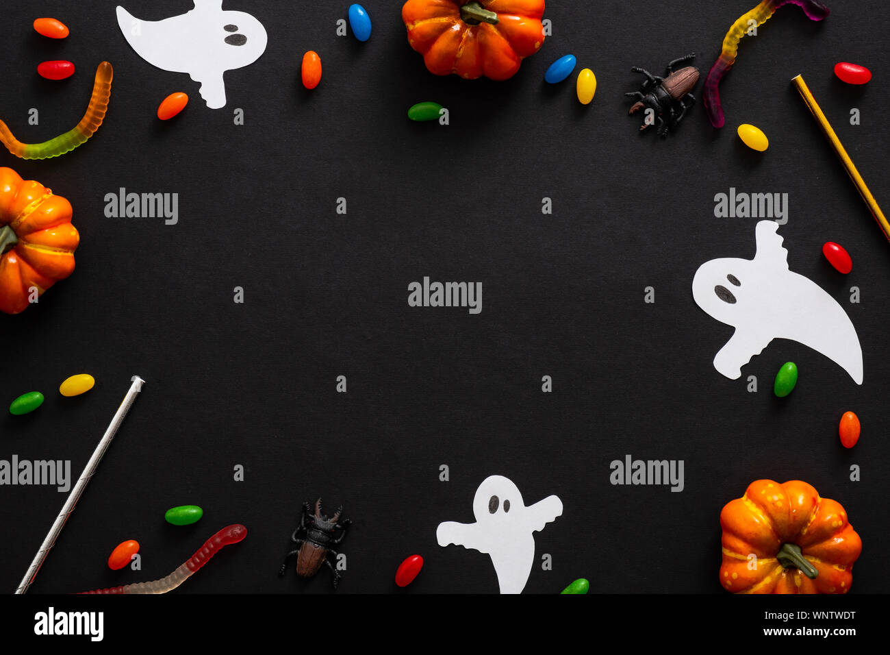 Halloween Frame With Pumpkins Ghosts Candy Ribbon On