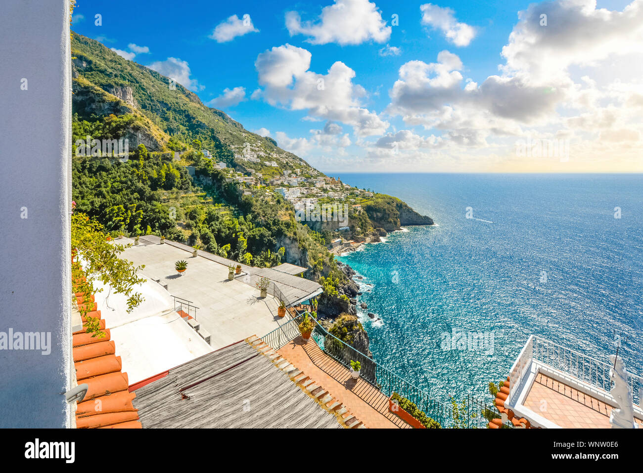A view of the hilltop town Praiano from a terrace along the Amalfi Coast on the Italian Mediterranean on a warm summer day Stock Photo