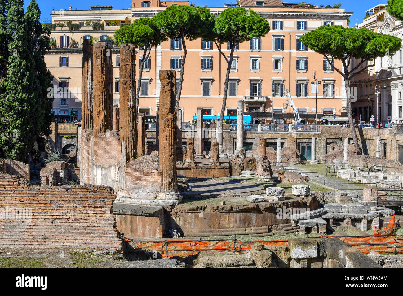 The excavated underground ruins at Largo di Torre Argentina containing Roman temples and the remains of Pompey's Theatre, now a cat sanctuary. Stock Photo