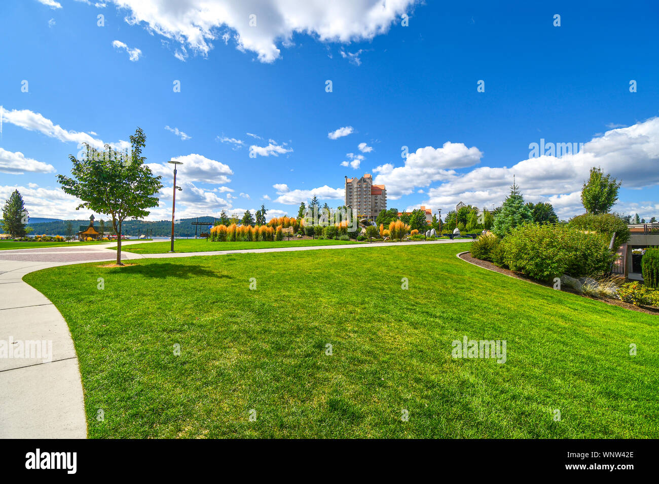 Summer day at the McEuen Park near resorts and Tubbs Hill in the lakefront town of Coeur d'Alene, Idaho. Stock Photo