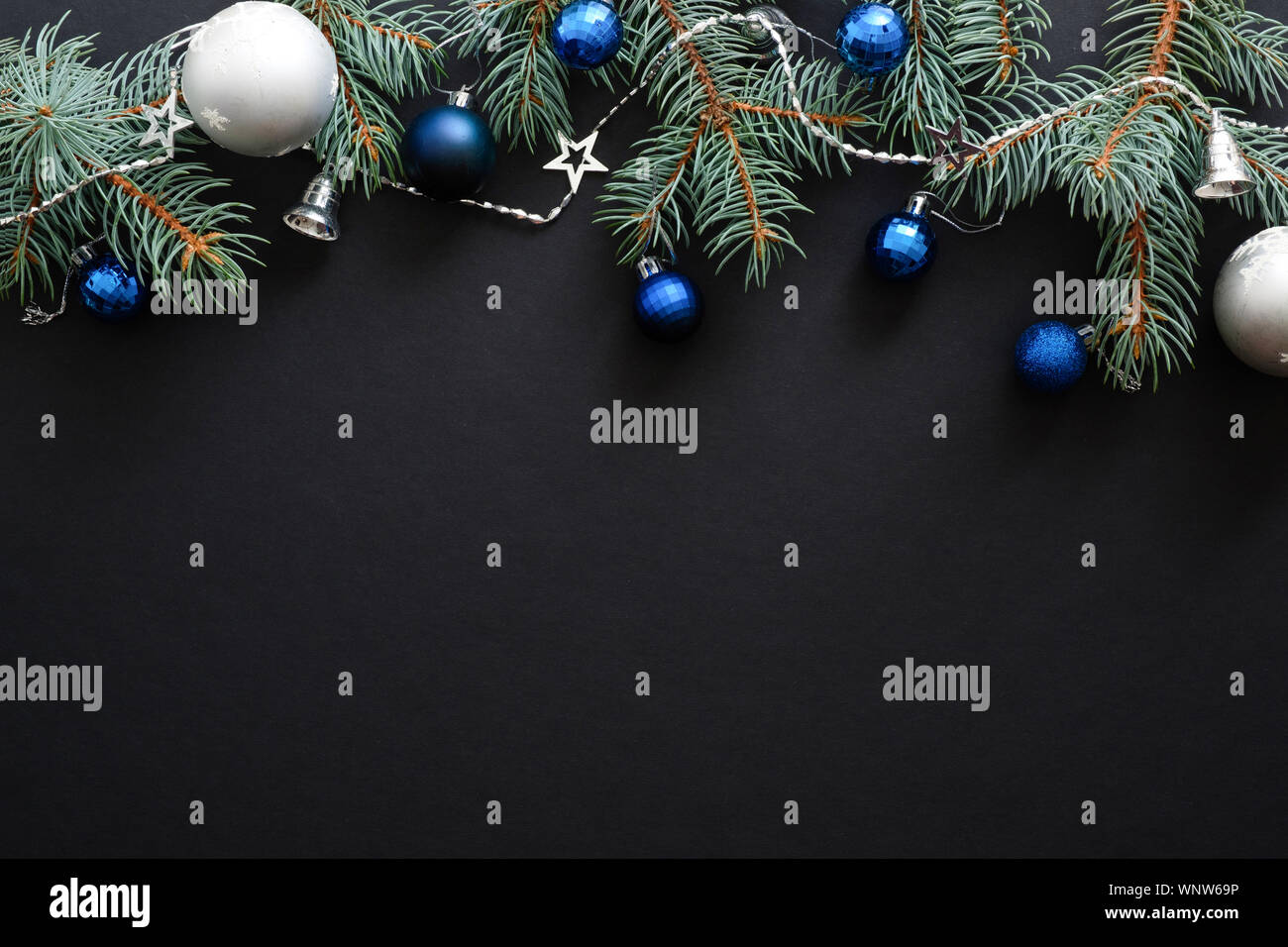 Dark Christmas.Christmas Frame Border With Blue And Sliver Modern