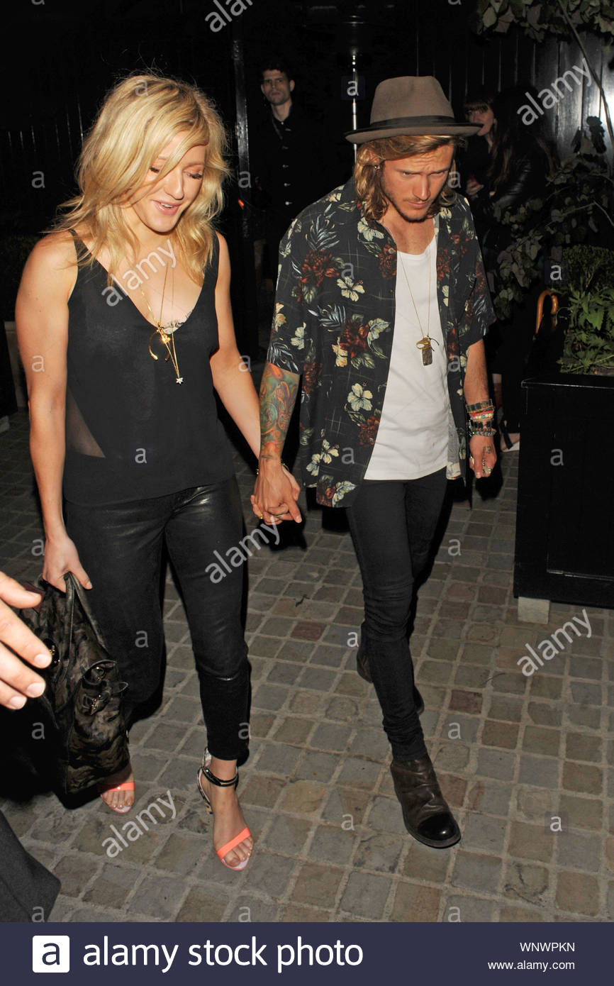 London, UK - Ellie Goulding and Dougie Poynter arrive at the Chiltern Firehouse for an evening of fun together. The couple walked into the club hand in hand the day after pictures of Calvin Harris going back to Ellies house surfaced. AKM-GSI June 24, 2014 Stock Photo