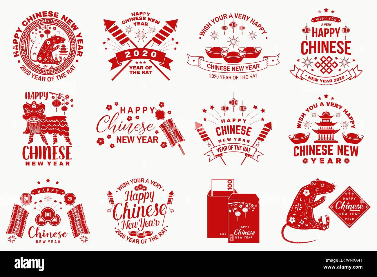 Happy Chinese New Year Design In Retro Style Chinese New Year Felicitation Classic Postcard Chinese Sign Year Of Rat Greeting Card Banner For Website Template Vector Illustration Stock Vector Image Art
