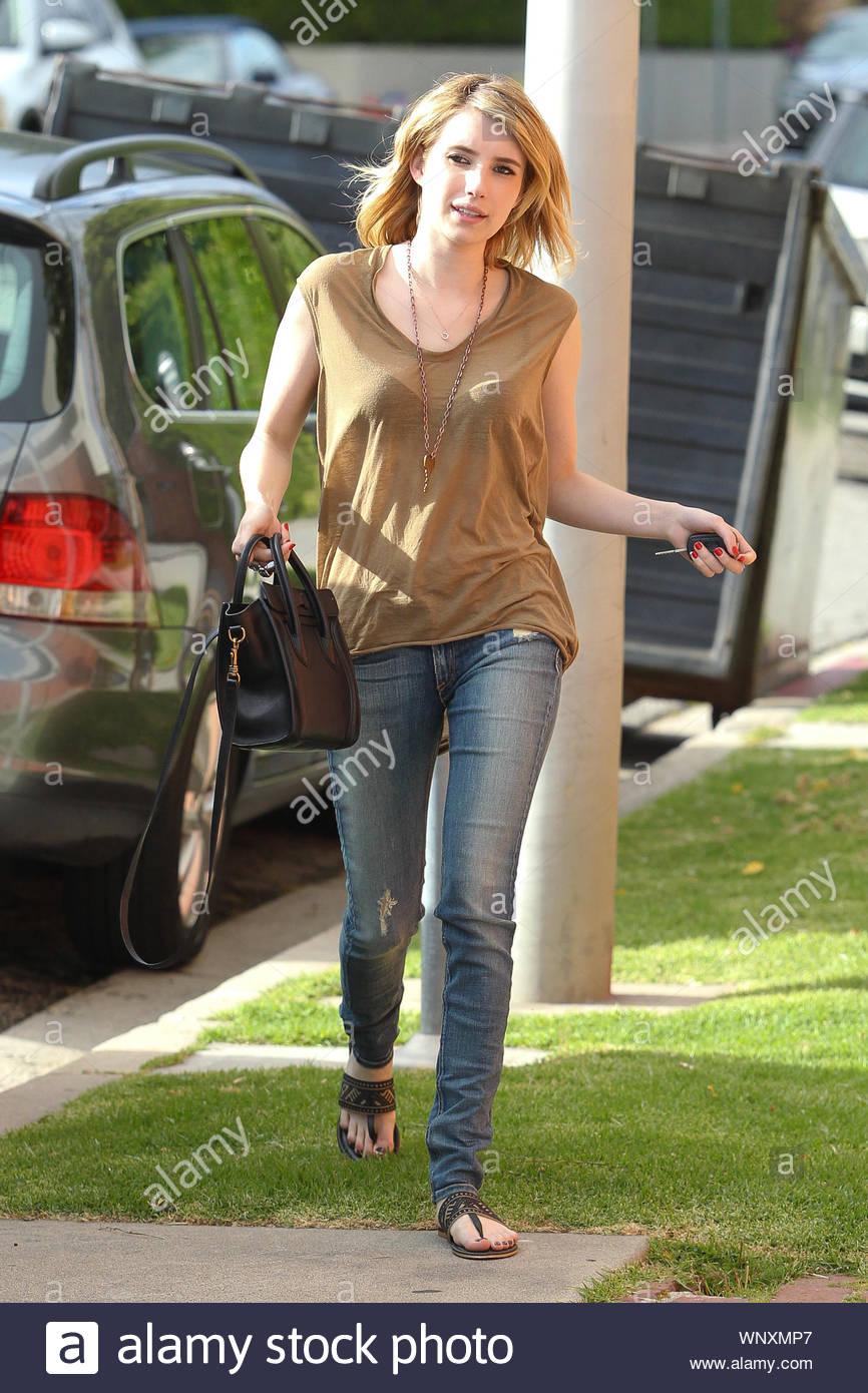 Beverly Hills Ca Actress Emma Roberts Arrives At A Hair