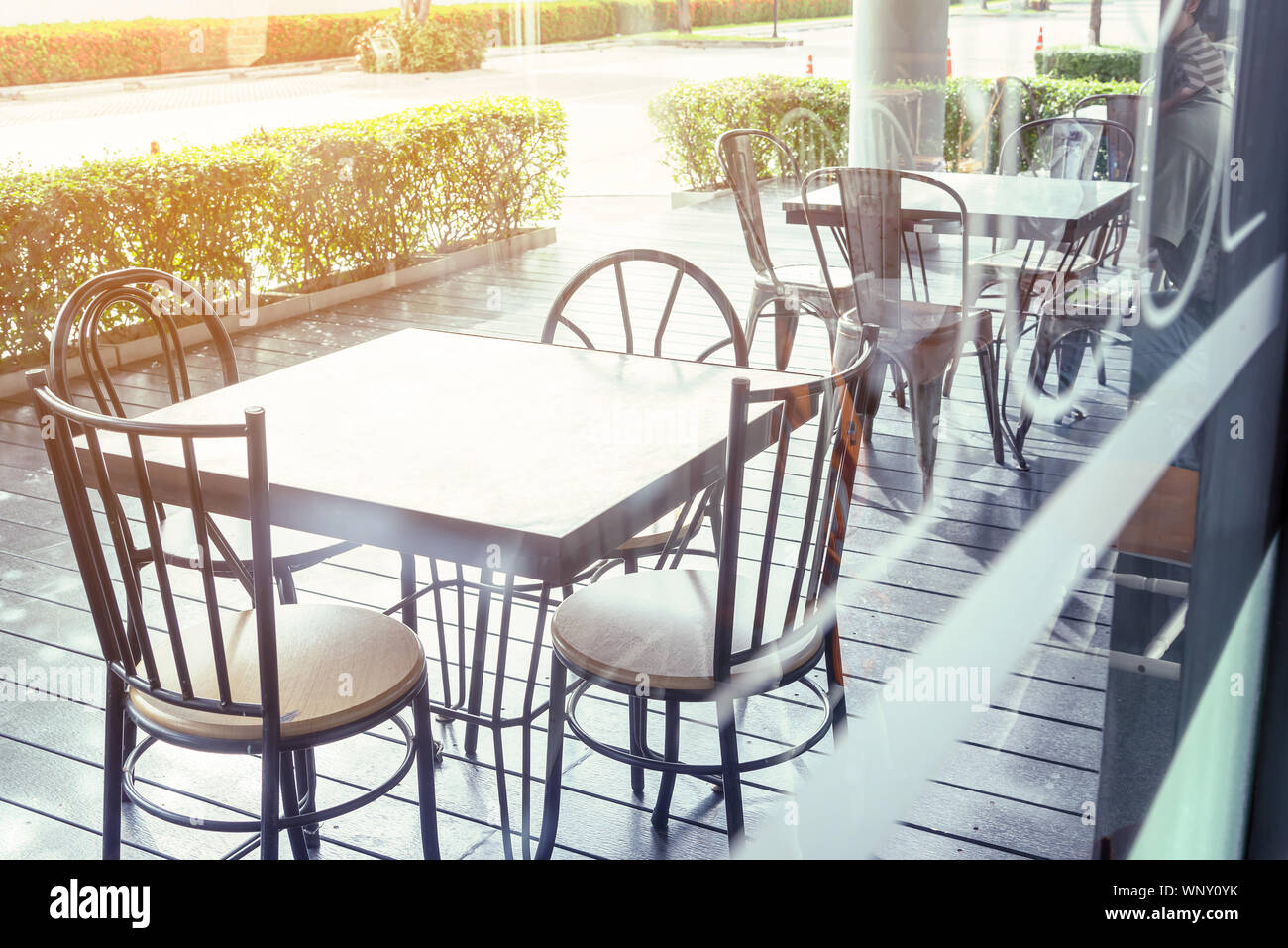 Outside Shop In Sunny Day With Tables And Chairs Of Cafe Restaurant In The Morning Time Which Nobody Uses Them Outdoor Of Coffee Shop Exterior Des Stock Photo Alamy