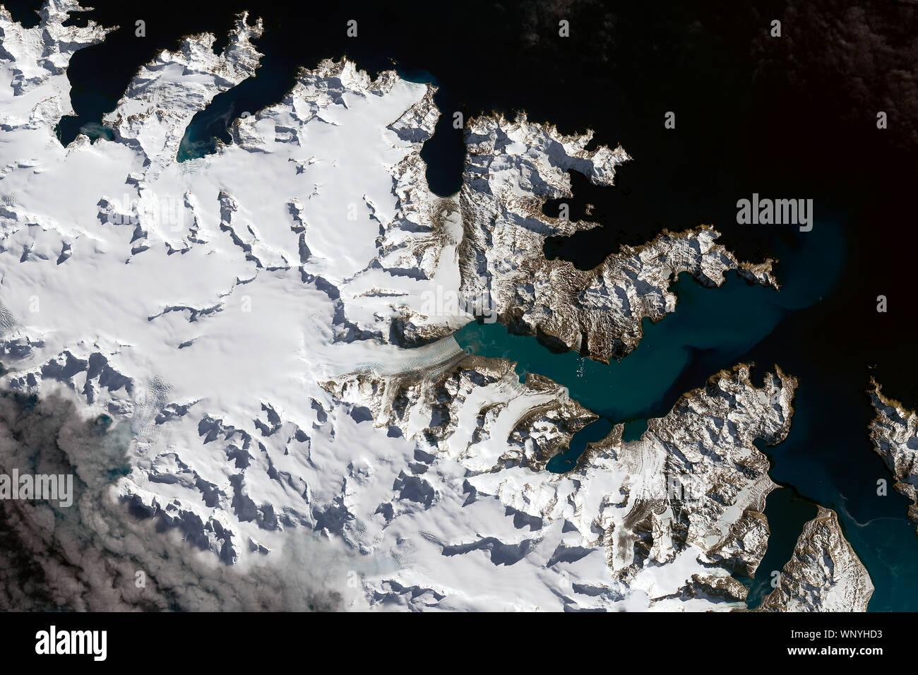 Glaciers, tidewater glaciers, South Georgia Island, September 14, 2016, by NASA/ Joshua Stevens/DPA Stock Photo