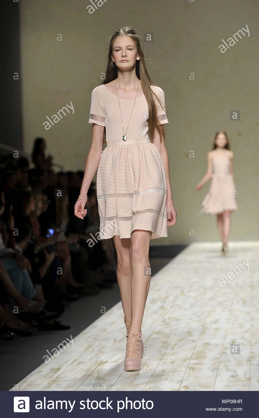 Milan Italy Italian Fashion Designer Anna Molinari Shows Off Her New Spring Summer 2013 Fashion Collection At Milan Fashion Week In Italy Akm Gsi September 19 2012 Stock Photo Alamy