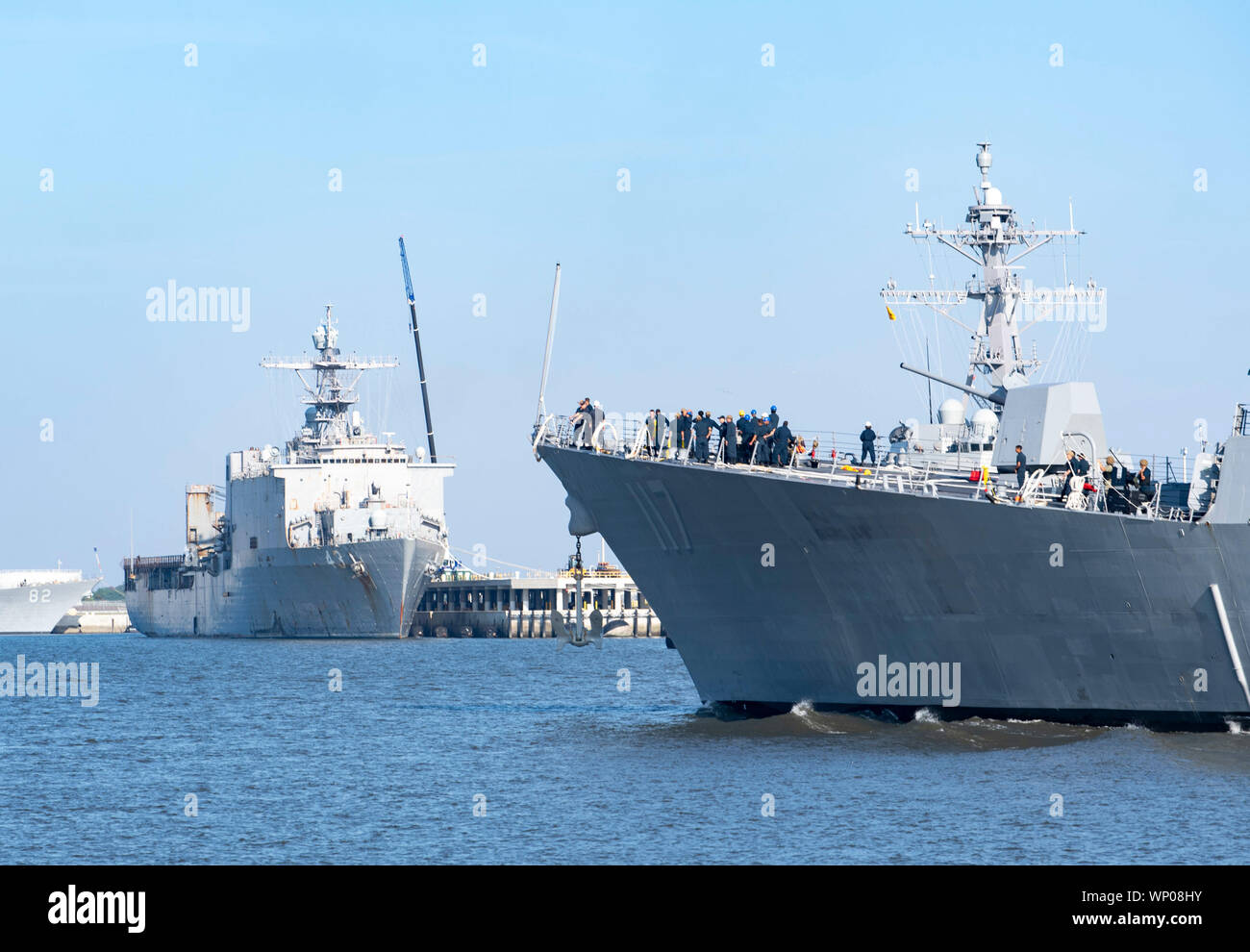 190906-N-DA434-048    JACKSONVILLE, Fla. (Sept. 6, 2019) The Arleigh Burke-class guided-missile destroyer USS Paul Ignatius (DDG 117) returns to Naval Station Mayport. Commander, U.S. 4th Fleet ordered all U.S. Navy ships homeported at Naval Station Mayport to sortie ahead of Hurricane Dorian on Aug. 30, 2019. Dorian brought high winds and heavy rain to the area.  (U.S. Navy photo by Mass Communication Specialist 3rd Class Alana Langdon/Released) Stock Photo