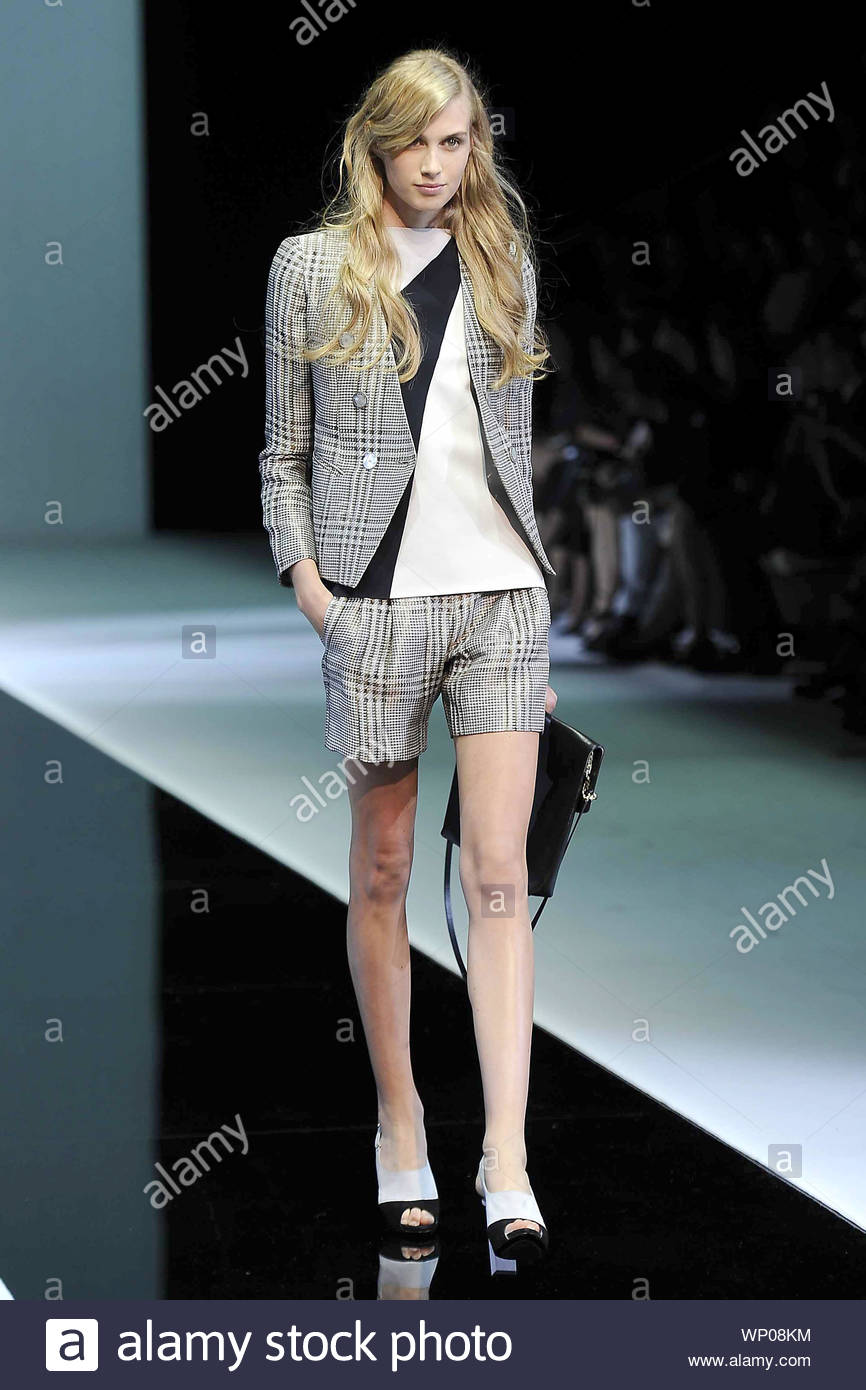 Milan Italy Italian Fashion Designer Giorgio Armani Shows Off His Spring Summer 2013 Collection From Milan Fashion Week In Italy Akm Gsi September 20 2012 Stock Photo 271684776 Alamy