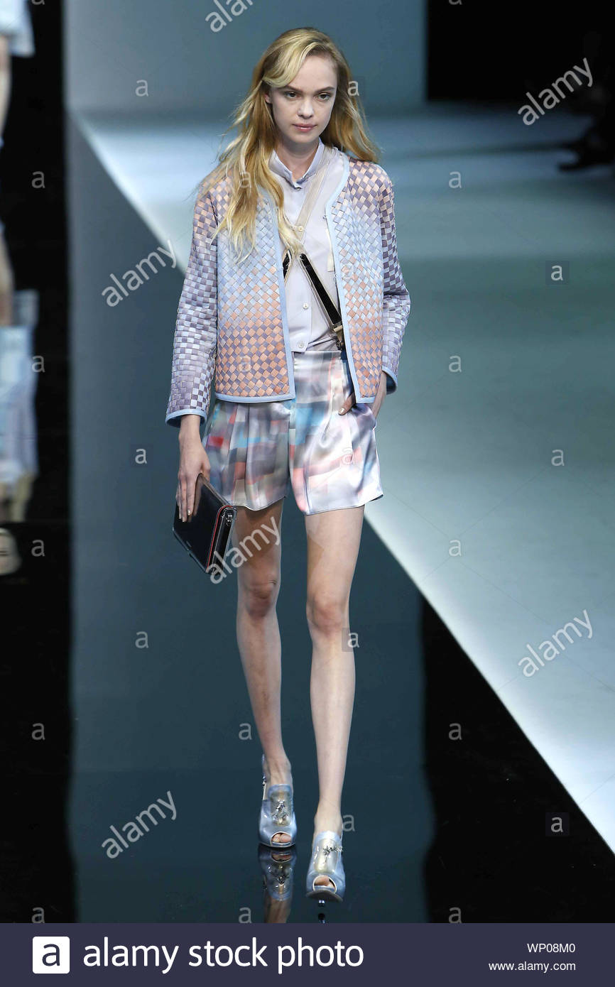 Milan Italy Italian Fashion Designer Giorgio Armani Shows Off His Spring Summer 2013 Collection From Milan Fashion Week In Italy Akm Gsi September 20 2012 Stock Photo Alamy