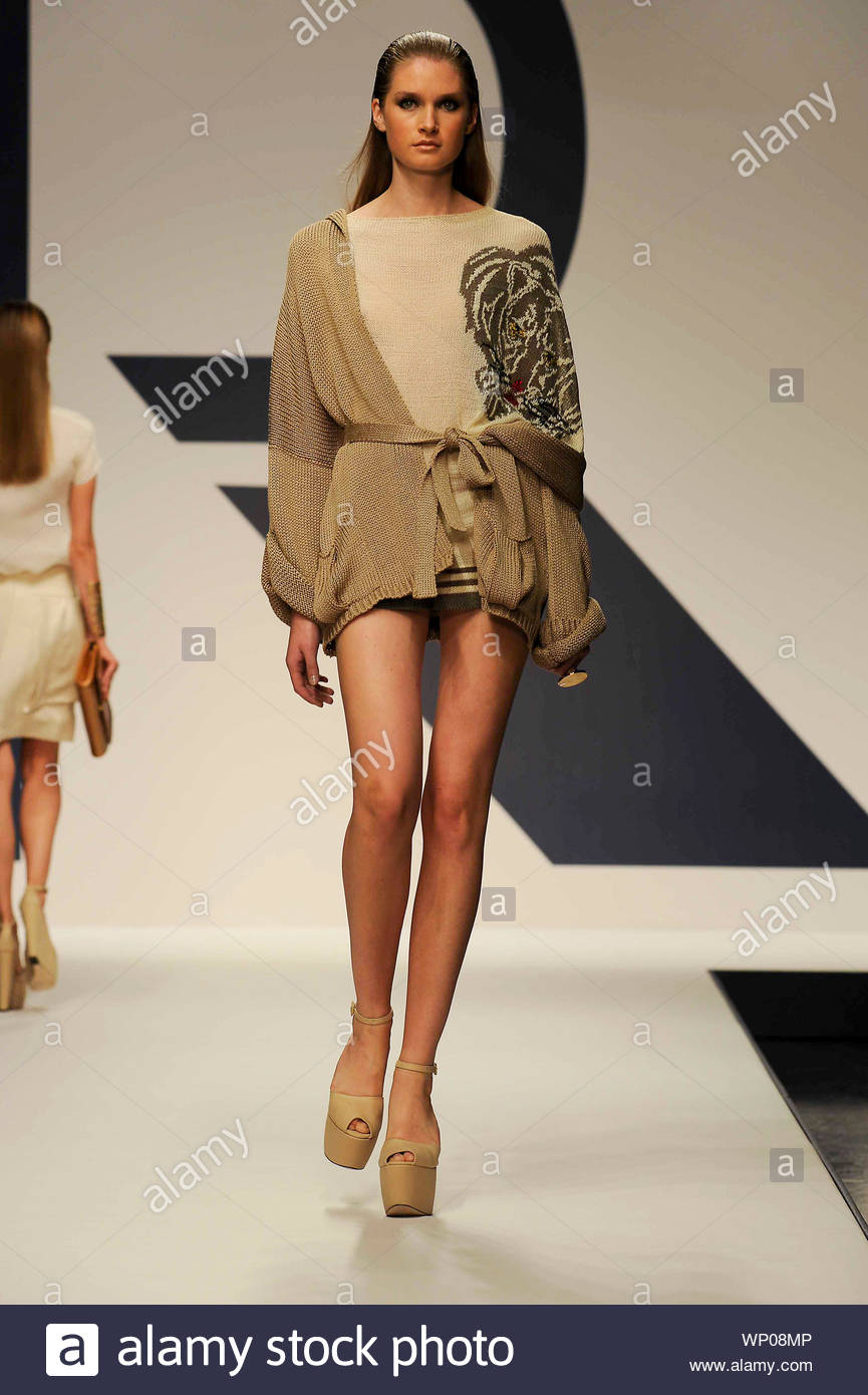 Milan Italy Italian Fashion Designer Mariuccia Mandelli Shows Off Her New Spring Summer 2013 Fashion Collection At Milan Fashion Week In Italy Akm Gsi September 20 2012 Stock Photo Alamy