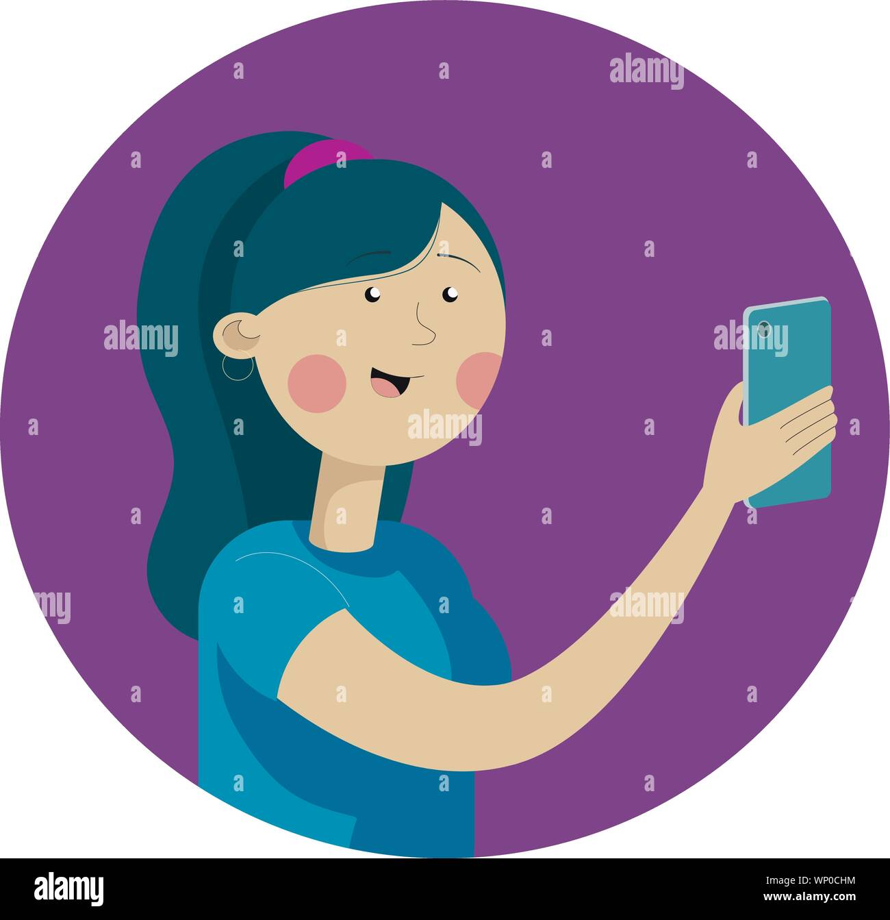 Portrait of a woman with a phone. Addiction on the smartphone and the Internet. Vector Flat Illustration Stock Vector