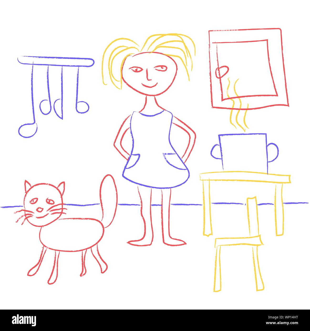 Childs Drawing With Crayons Cute Kids Doodle Depicting A