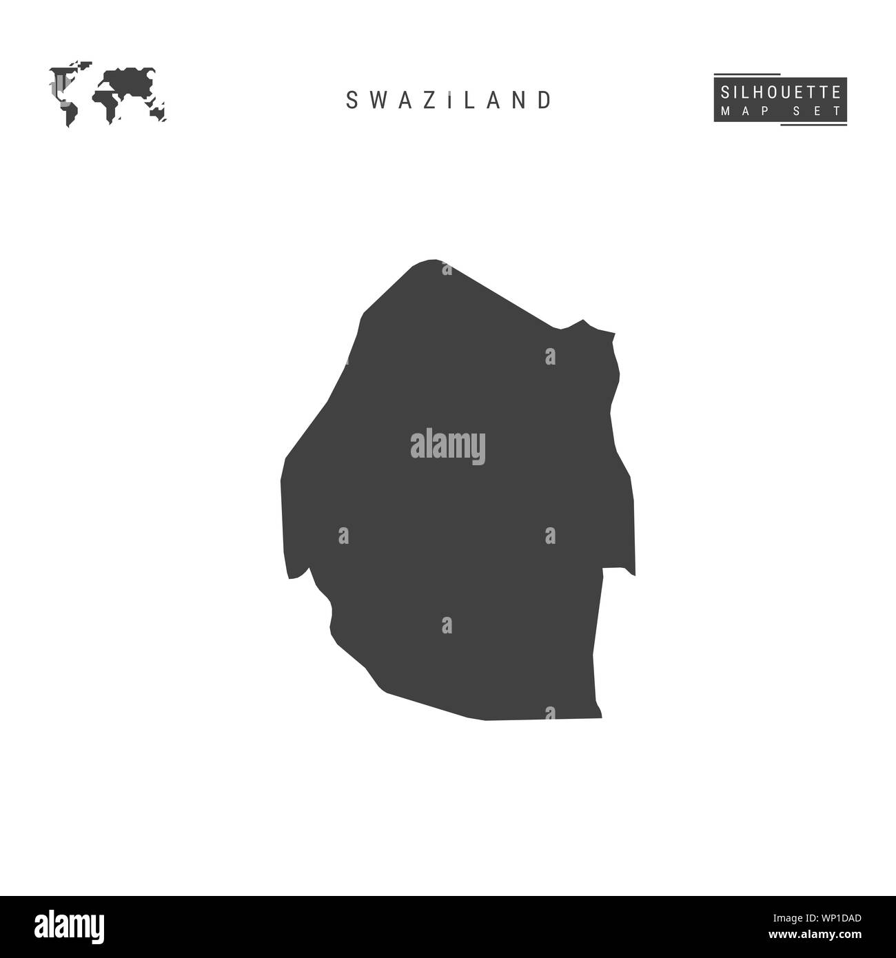 Swaziland Blank Map Isolated on White Background. High-Detailed Black Silhouette Map of Swaziland. Stock Photo