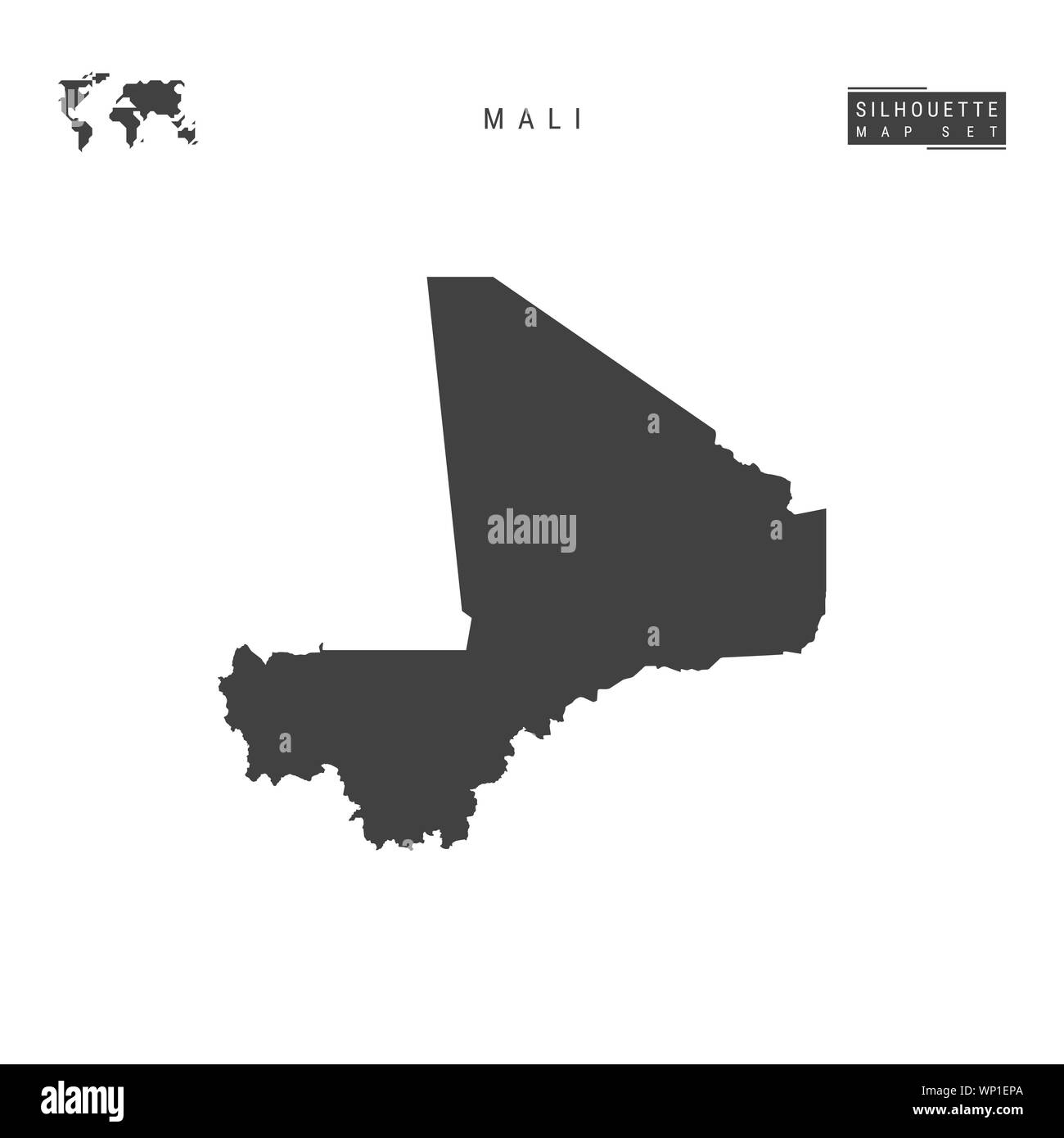 Mali Blank Map Isolated on White Background. High-Detailed Black Silhouette Map of Mali. Stock Photo
