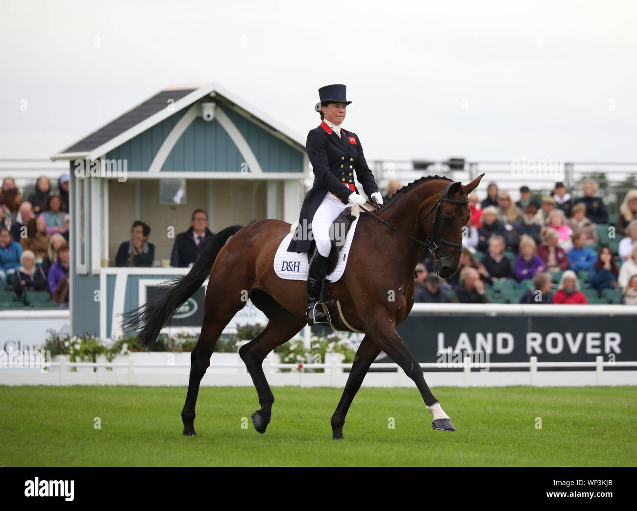Stamford, Lincolnshire, UK. 06th Sep, 2019. Piggy French on Vanir Kamira during the dresage at The Land Rover Burghley Horse Trials, Stamford, Lincolnshire, on September 6, 2019. Credit: Paul Marriott/Alamy Live News Stock Photo