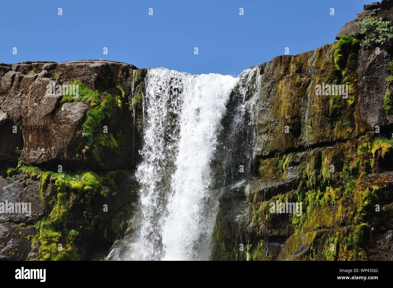 Im Nationalpark Pingvellir stürzt ein Wasserfall an der Kontinentalspalte über steile Felsen. Stock Photo