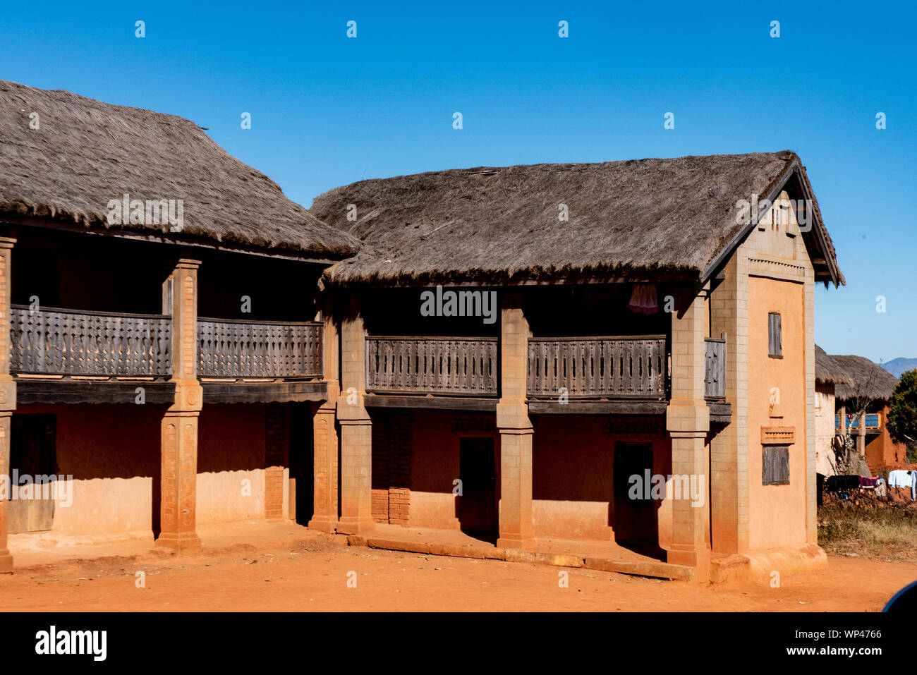 Typical Traditional Adobe Mud Brick Built Thatched Two Storey